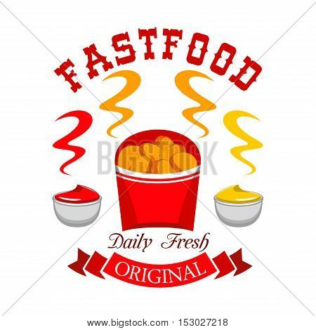Fast food chicken nuggets emblem. Vector icon of daily fresh hot snack with ketchup and mustard in paper box with red ribbon and text