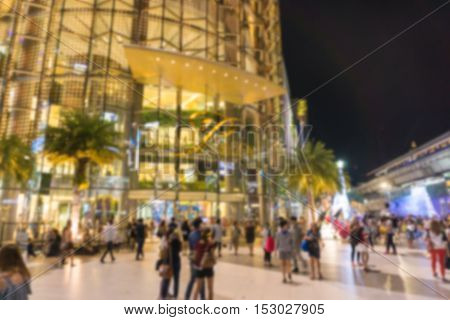 Abstract blur Siam Paragon at night .