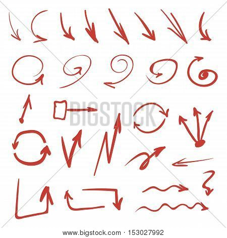 Set of red hand drawn sketch style arrows on white background