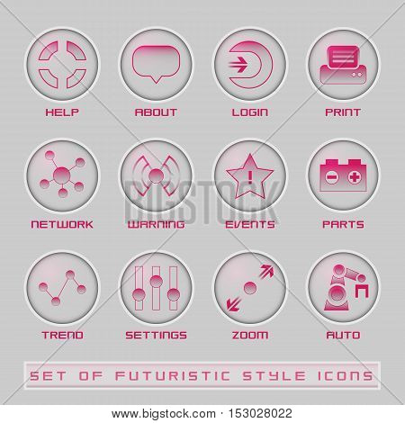 Futuristic style user interface icons for mobile and web applications. UI and HUD vector scalable illustration
