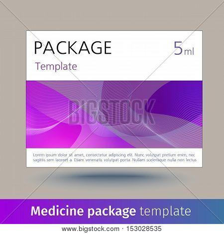 Medicine package template. Designed text. Vector illustration
