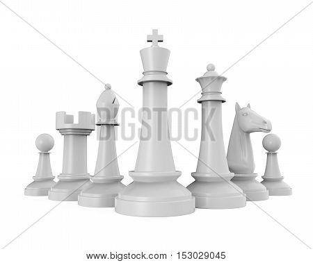 White Chess Pieces isolated on white background. 3D render