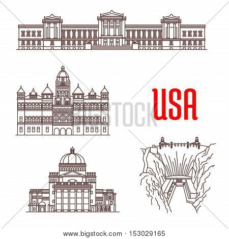 American landmarks and sightseeings icons. Boston Museum of Fine Arts, Old Red Museum of Dallas, The First Church of Christ, Hoover Dam. Vector thin line symbols of famous buildings for souvenirs, travel map guide