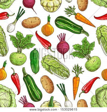 Vegetarian seamless pattern with vegetables. Farm fresh vector napa cabbage and zucchini, pepper and carrot, kohlrabi, potato and onion, beet and radish, cucumber. Kitchen decoration pattern