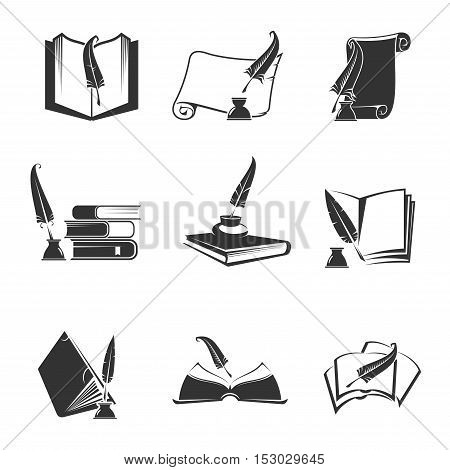Vector icons of science, study, education, knowledge. Isolated silhouette outline symbols of book, manuscript, writing feather pen