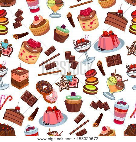 Cakes and patisserie desserts seamless pattern. Vector pattern of confectionery chocolate cupcakes, biscuit cakes, muffins, whipped cream, strawberry and cherry topping