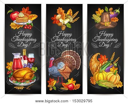 Thanksgiving Day greeting banners, posters with traditional plenty of food, roasted turkey, harvest vegetables, cornucopia, pumpkins, fruits and vegetables. Invitation card with chalk design elements of autumn leaves