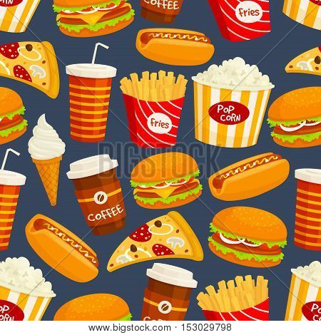 Fast food seamless pattern. Vector pattern of snacks and drinks hot dog, cheeseburger, popcorn, french fries, pizza slice, sandwich, coffee, soda, drink, ice cream
