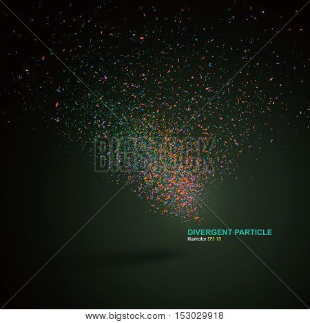 Divergent particle background,Vector illustration, abstract graphic design.