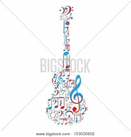 Guitar figure composed of notes, Vector illustration.