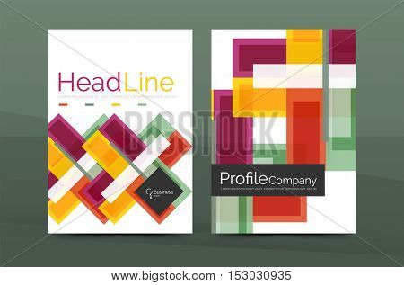 Modern colorful line composition design. Abstract background set