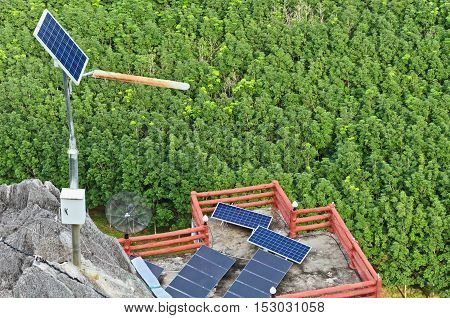 solar cells energy in the countryside and forest