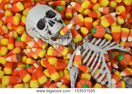 close up of Halloween skeleton in candy corn
