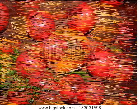 A lot of red tomatoes and yellow tomatoes, vegetables chopped, drawn thin strokes, drawing multicolored