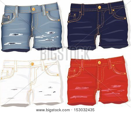 Jeans shorts female. Vector illustration isolated .
