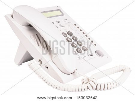 Office telephone set with LCD isolated on the white background