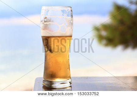 Close-up Of Light Beer Glas