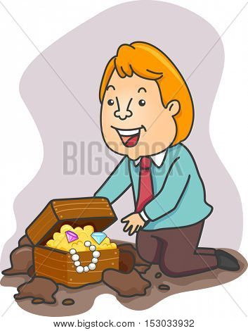 Illustration of an Excited Businessman Stumbling Upon a Treasure Chest Filled with Gold Coins and Jewels