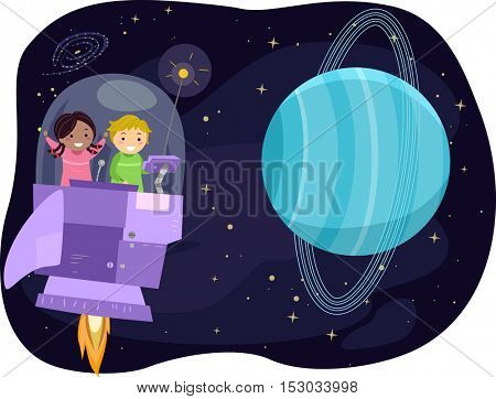 Stickman Illustration of Preschool Kids Observing the Planet Uranus from a Space Capsule