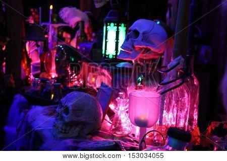 Human skull in scary dark light