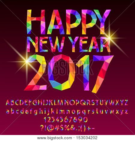 Vector patched sparkling Happy New Year 2017 greeting card with set of letters, symbols and numbers
