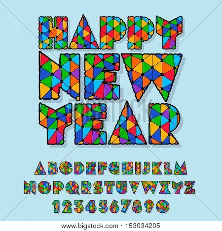 Vector patched Happy New Year greeting card with set of letters, symbols and numbers