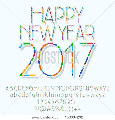 Vector mosaic Happy New Year 2017 greeting card with set of letters, symbols and numbers