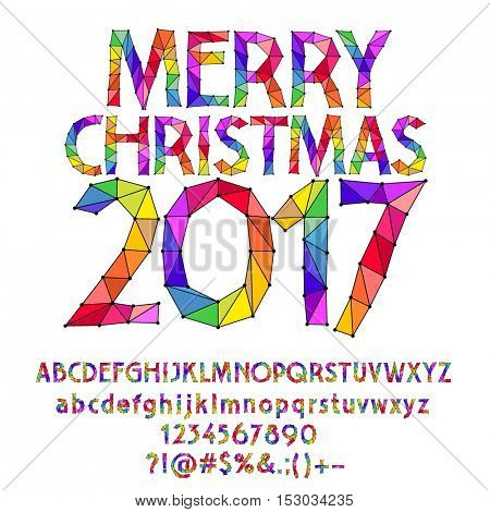 Vector patched rainbow Merry Christmas 2017 greeting card with set of letters, symbols and numbers