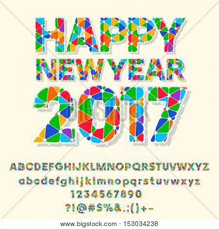 Vector patched Happy New Year 2017 greeting card with set of letters, symbols and numbers