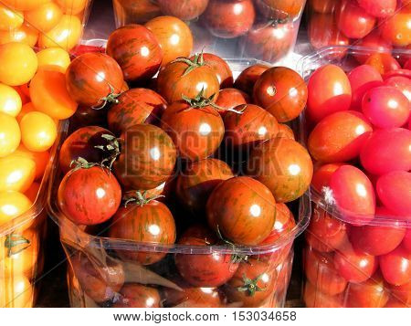 Beautiful tomatoes on bazaar in Tel Aviv IsraelJanuary 7 2011
