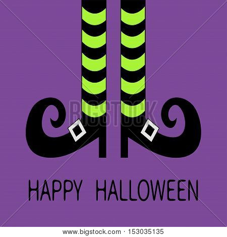 Witch legs with striped socks and shoes buckle. Happy Halloween. Greeting card. Flat design. Violet baby background. Vector illustration