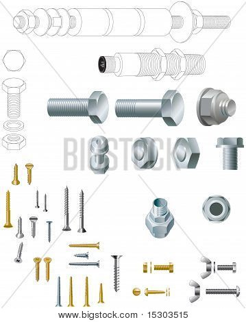 Nuts and bolts and woodscrew