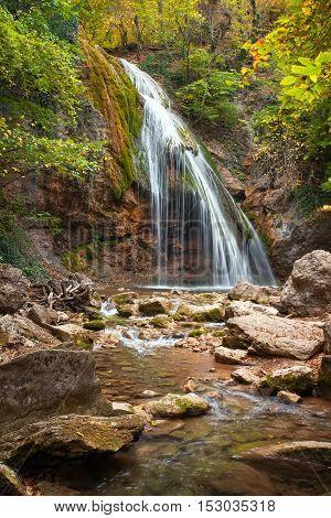 Beautiful autumn landscape with waterfall Dzur-Dzur in Crimea