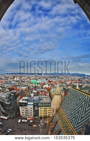Lovely Vienna from the bell tower of St. Stephen window