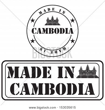 Industrial symbols Made in Cambodia for product labeling.