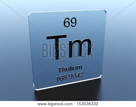 Thulium symbol on a glass square 3D render