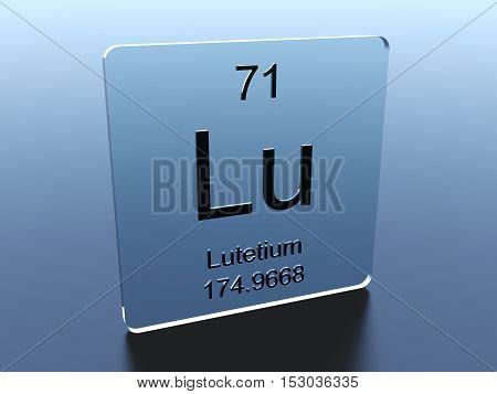 Lutetium symbol on a glass square 3D render