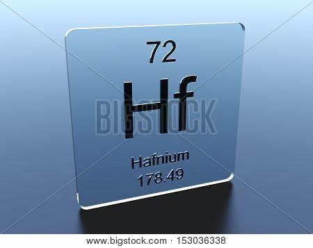 Hafnium symbol on a glass square 3D render