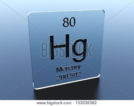 Mercury symbol on a glass square 3D render