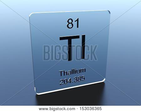 Thallium symbol on a glass square 3D render