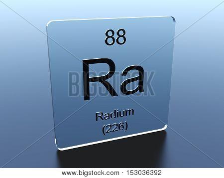 Radium symbol on a glass square 3D render