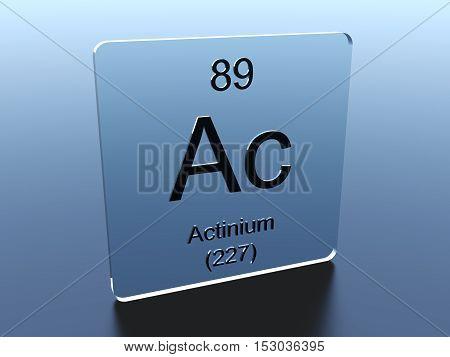 Actinium symbol on a glass square 3D render