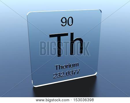 Thorium symbol on a glass square 3D render