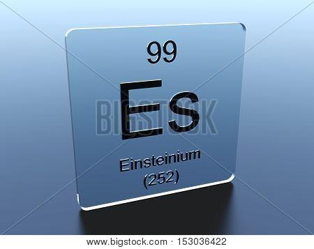 Einsteinium symbol on a glass square 3D render