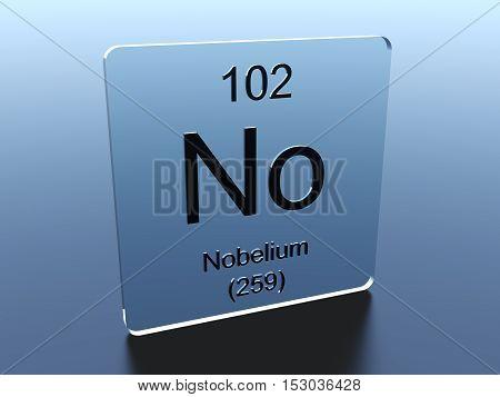 Nobelium symbol on a glass square 3D render