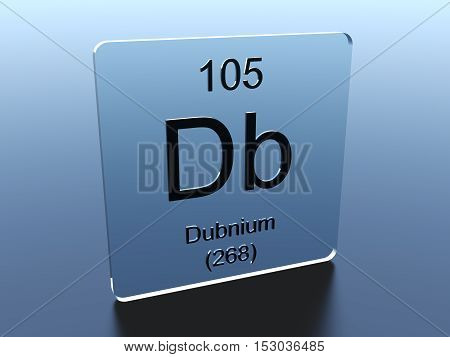 Dubnium symbol on a glass square 3D render