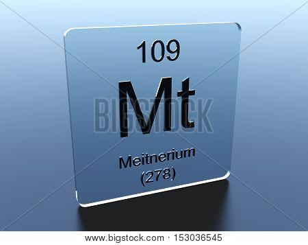 Meitnerium symbol on a glass square 3D render
