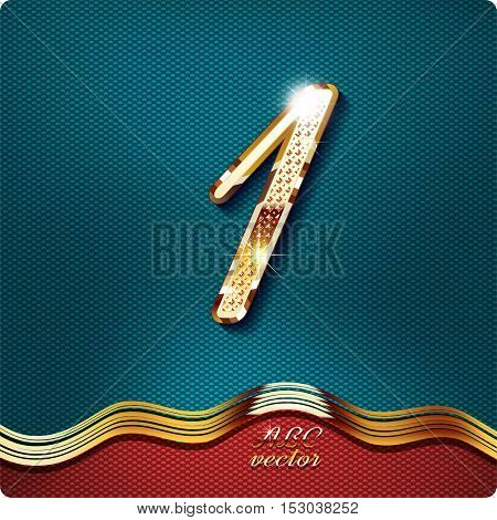 Golden stylish Inlaid figure is 1, with shadow and glare. vector digit one