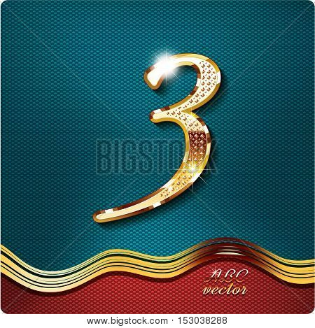 Golden stylish Inlaid figure is 3, with shadow and glare. vector digit 3.