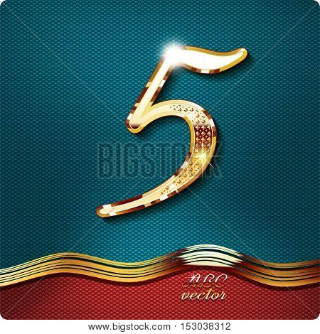 Golden stylish Inlaid figure is 5, with shadow and glare. vector digit five
